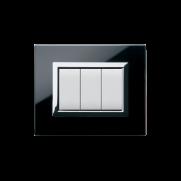 Serie DOMUS con placca Vera nero assoluto finitura lucida