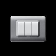 Serie DOMUS con placca Tecnopolimero argento opaco
